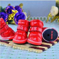 Зимние сапожки ботиночки для собак на липучках, 1,2,3,4,5 - красный, синий, фиолетовый, чёрный.