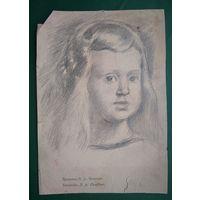 Крохалев Петр. Рисунок девочки. Бумага. карандаш. 16.5х24 см.