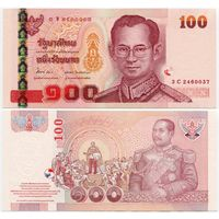 Таиланд. 100 бат (образца 2005 года, P114, подпись 2, XF)