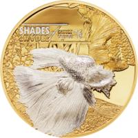 """Острова Кука 5 долларов 2016г. """"Оттенки природы: Бойцовская  рыбка"""". Монета в капсуле; подарочном футляре; сертификат; коробка. СЕРЕБРО 25гр."""