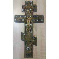 Крест - распятие, 19 век. Эмали. Большой! Состояние!