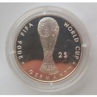 Серебро!!! Фиджи. 2 доллара 2004 года - Чемпионат мира по футболу 2006 в Германии - PROOF в капсуле - KM# 108 - редкая - небольшой тираж!!!