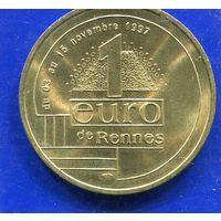 Франция жетон 1 евро.Парламент Бретани