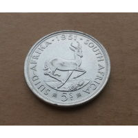 Южная Африка, 5 шиллингов 1951 г., серебро, Георг VI (1936-1952)