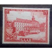 Дилижанс и автобус (День печати), Германия (Саар), 1954 год, 1 марка