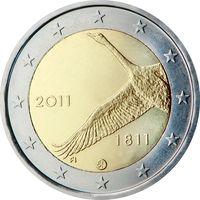 2 евро Финляндия 2011 200 лет банку Финляндии UNC из ролла