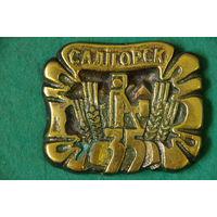 Памятный знак Солигорск 35   ( латунь 7,5 х 9 см )
