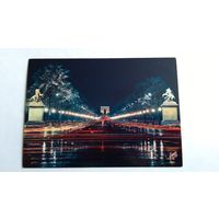 Открытка Проспект Елисейские поля и Триумфальная арка вид ночью. 1983 год. #m3
