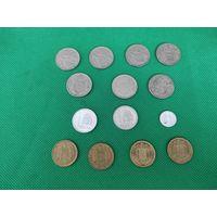Испания, набор из 17 монет, 1 и 5 песет, с 1959 по 1990 гг, из оборота, года внутри звезды