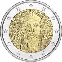 2 евро Финляндия 2013 125 лет со дня рождения Франса Эмиля Силланпяя UNC из ролла