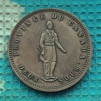 Канада 1 пенни 1852 года. Квебек. Красивая патина!