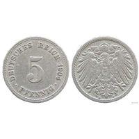 YS: Германия, Рейх, 5 пфеннигов 1904A, KM# 11 (2)