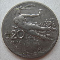 Италия 20 чентезимо 1914 г. (d)