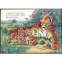 Кошки. Россия 1992. Блок. Охрана природы. Тигр. (#4) МNH