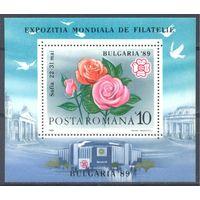 Румыния 1989 Филвыст. Цветы. Архитектура, блок