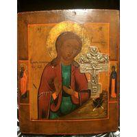 Икона Божией Матери Ахтырская, с Врезным Распятием, Плач при Кресте. Предстоящие Пётр и Анна. 19 ВЕК! Без мнц!