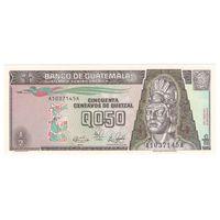 Гватемала 0,5 кетцеля 1989 года. Красная надпечатка года. Тип P 72a. Нечастая! Состояние UNC!