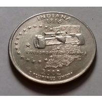25 центов, квотер США, штат Индиана, P