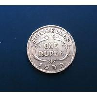 Британские Сейшельские Острова 1 рупия 1939 г.  (Георг VI) серебро
