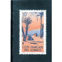 Франция.Французское Сомали.Mi:FR-SO 285. Палатки Данакили.Пальмы.1947.