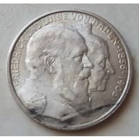 Германия Баден 2 марки 1906 года. Серебро. Штемпельный блеск! Состояние aUNC!