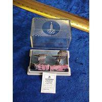 Запонки сувенирные металлические со вставками из камней 3 группы. Олимпиада-80.