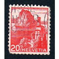 Швейцария, почтовая марка, 1936 год, номинал 20с, SG#375A (*3)