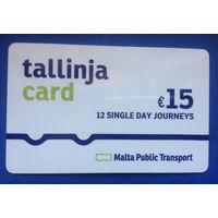 Карта пластиковая на проезд в автобусе на 12 поездок Мальта