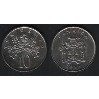 Ямайка _km47 10 центов 1989 год (f50)(ks00)