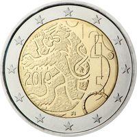 2 евро Финляндия 2010 150 лет финской валюте UNC из ролла