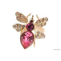 Кольцо Це-Це - позолота, розовые кристаллы Swarovski