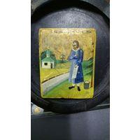 Святой праведный Симеон Верхотурский чудотворец. Маленькая икона 19 век, письмо по золоту, 6,5х5.