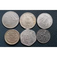 Индия. 6 разных монет одним лотом. Большая распродажа коллекции