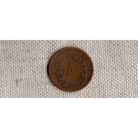 Британская Индия /Восточно Индийская Компания/ 1/2 пайс 1853 /1 год чекана/РЕДКАЯ/(D)