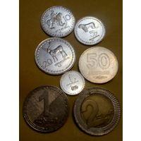 Грузия 1, 5, 10, 20, 50 тетри, 1, 2 лари набор из 7 обиходных монет