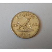 Фиджи 1 шиллинг 1942 г. серебро