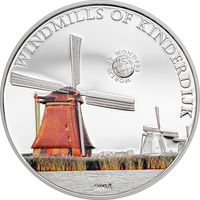 """Палау 5 долларов 2014г. """"Мир Чудес: Ветряные мельницы Киндердейка"""". Монета в капсуле; сертификат. СЕРЕБРО 20гр."""