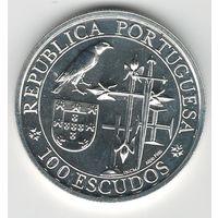 Португалия 100 эскудо 1995 года. Серебро. Яркий штемпельный блеск! Состояние UNC! Нечастая!