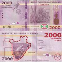 Бурунди 2000 франков образца 2015 года UNC p52
