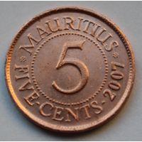 Маврикий 5 центов, 2007 г.