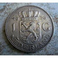 Нидерланды. 1 гульден 1956 г. Серебро.