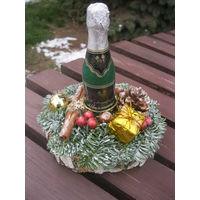 Подсвечник со свечой-шампанским, ручная работа