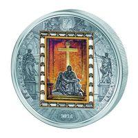 "Острова Кука 20 долларов 2014г. Микеланджело Буонарроти: ""Пьета: ""Оплакивание Христа"". Монета в капсуле; шикарном подарочном футляре; рамка; сертификат; коробка. СЕРЕБРО 93,31гр./ЗОЛОТО 7,778гр."