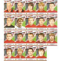 Лот больших карточек(19шт.) с автографами игроков и тренеров Национальной сборной Беларусь 2009г.