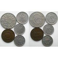 Швеция, 5 монет (1969, 1970, 1972, 1979, 1980)