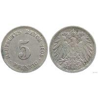 YS: Германия, Рейх, 5 пфеннигов 1909D, KM# 11 (1)