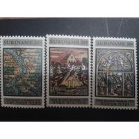 Суринам 1968 карта страны, реставрация синагоги полная серия