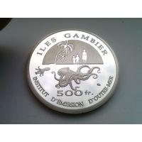 Острова ГАМБЬЕ (Французская ПОЛИНЕЗИЯ) 500 франков 2014 год