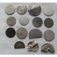 Лот монет билон серебро.С 1р без МЦ.