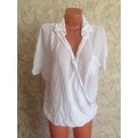 """Легкая белая блуза на 52-56 размер. Покупала за 70 у.е. Блуза отличного качества, летом незаменимая вещь. С воротничком, что позволяет носить и с жакетами. На фото не утюжена, при носке допускается """"л"""